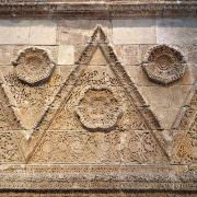 Decorated facade of the Palace of Mshatta (Jordan) at the Pergamon Museum in Berlin