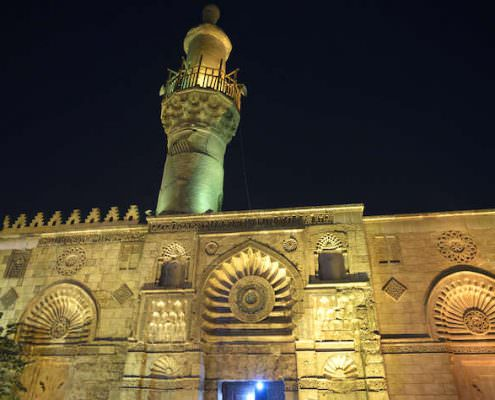 El-Aqmar Mosque at night, Cairo