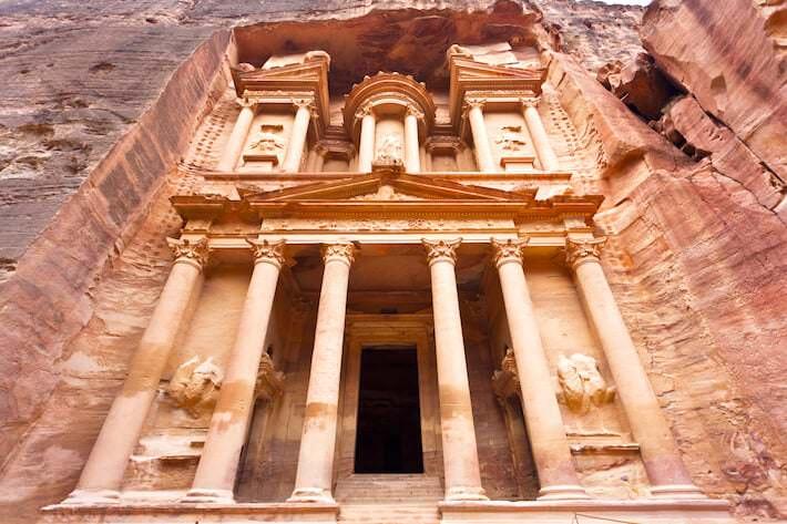 Facade of the Treasury (Al Khazneh) in Petra