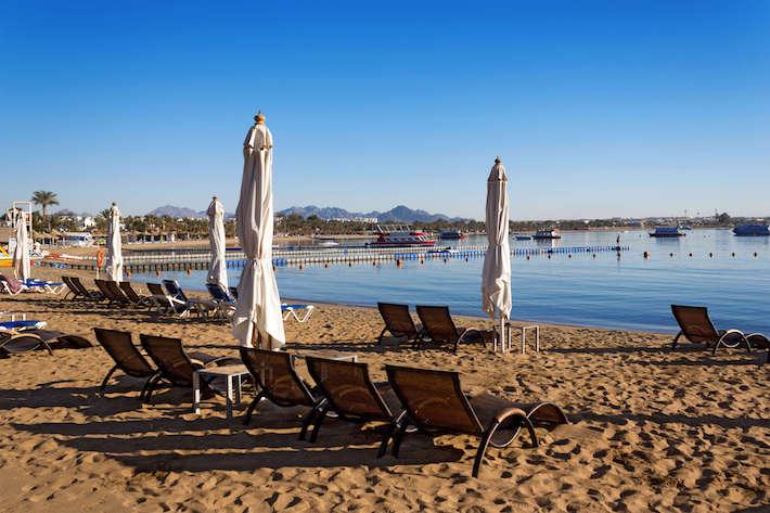 Naama Bay beach in Sharm El Sheikh, Egypt