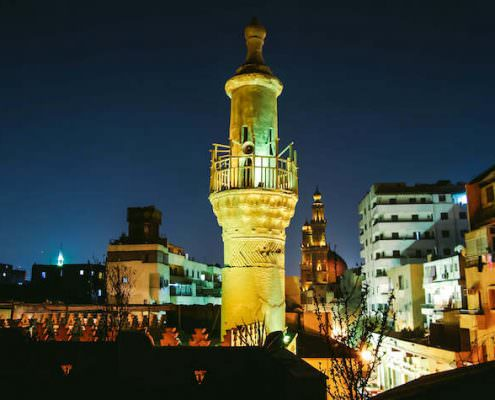 Night shot of Minaret of Al Aqmar Mosque