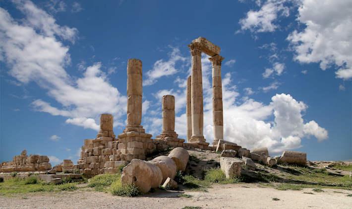 Roman Corinthian columns of the Hercules Temple at Citadel Hill, Amman