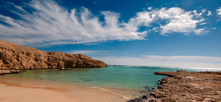 Sandy bay with blue turquoise water in Ras Mohammed National Park