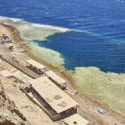 The Blue Hole is very popular diving place, 8 kilometres north of Dahab, Red Sea