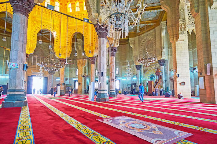 Interior of Abu al-Abbas al-Mursi Mosque with beautiful arabesque decors on stone and wood