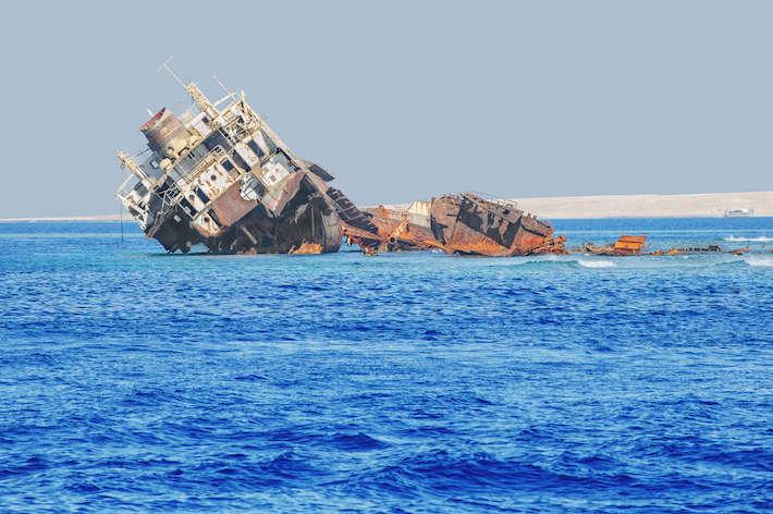 The infamous shipwreck at Tiran Island, Red Sea