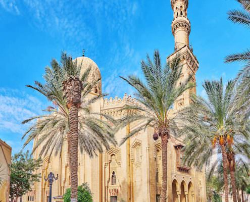 The medieval Abu al-Abbas al-Mursi Mosque is surrounded by lush palm garden, perfect place to rest and enjoy the views, Alexandria, Egypt