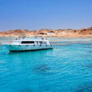 Tourist boat at Tiran Island, Red Sea, Egypt