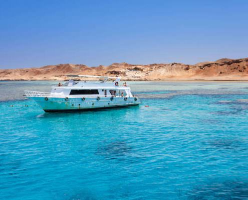 Tourist boat at Tiran Island, Red Sea, Egypt