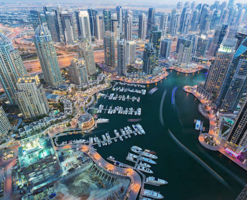 Aerial view of Dubai Marina