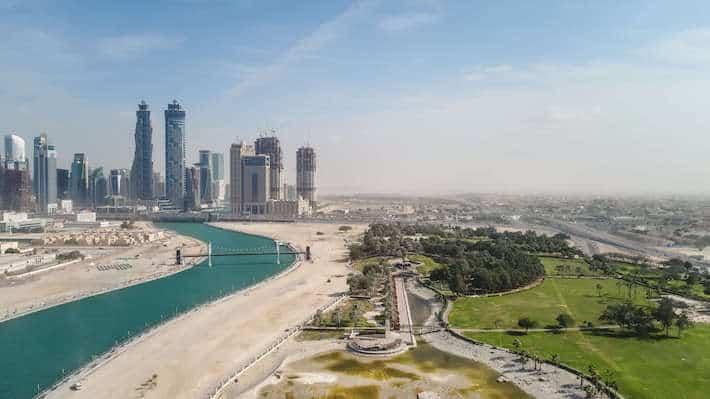 Aerial view of Safa park and Skyscrapers in Dubai, United Arab Emirates