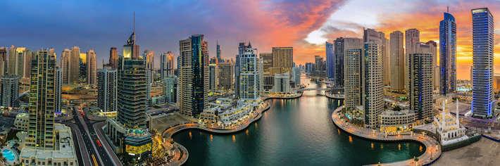 Panoramic view of Dubai Marina