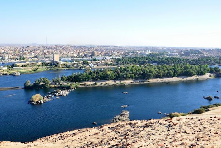Elephantine Island and Aswan city in the back