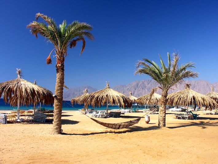 Egypt Luxury Vacations - Beach with palms and hammock, Red Sea