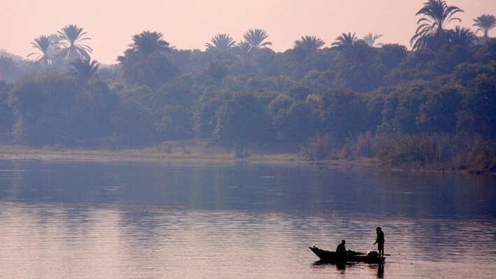Nile scenery with afternoon gauze